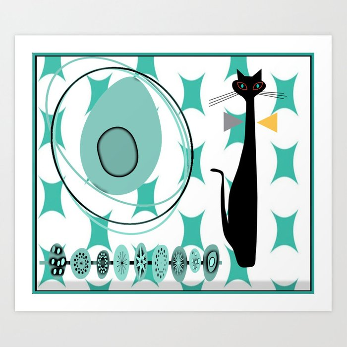 Mid-Century Modern Atomic Art - Teal - Cat Art Print
