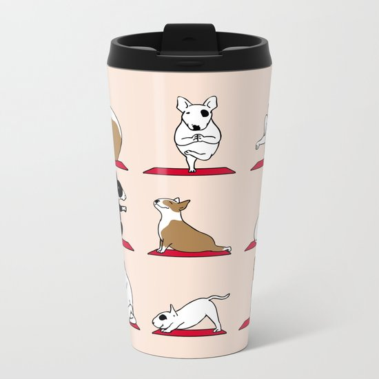 Bull Terrier Yoga Metal Travel Mug