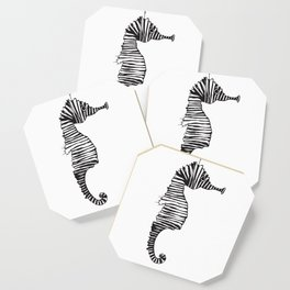 Suspended Seahorse Black and White Coaster