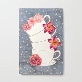 Floral Coffee Cups Metal Print