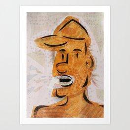 Orange Yelling Cartoon Face Art Print