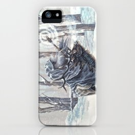 Wizard Riding an Elk in the Snow iPhone Case