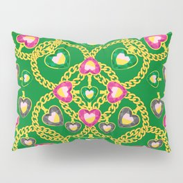 Golden Chains and Luxurious Jewelry Pattern Pillow Sham