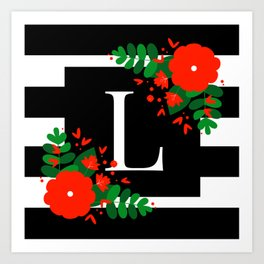 L - Monogram Black and White with Red Flowers Art Print