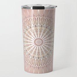 Rose Tan Geometric Mandala Travel Mug