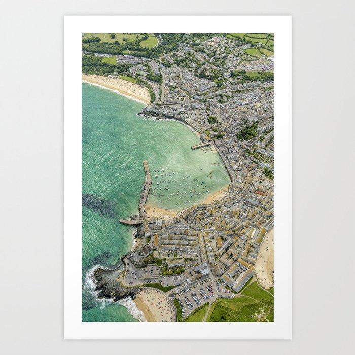 Aerial Views over St. Ives, Cornwall Art Print
