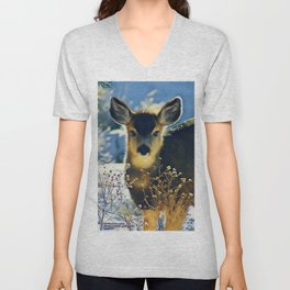 Blue Baby Deer in Winter Light by CheyAnne Sexton Unisex V-Neck