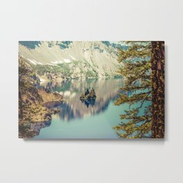 Crater Lake Oregon Phantom Ship Island Metal Print