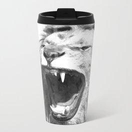 Black White Fierce Lion Metal Travel Mug