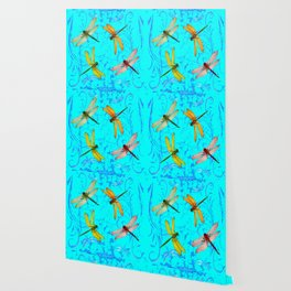 DRAGONFLY WORLD IN BLUE ABSTRACT ART DESIGN Wallpaper