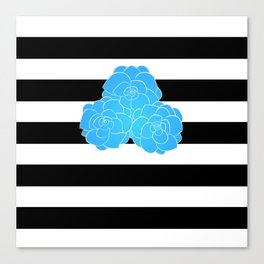 Stripes and Blue Roses Canvas Print