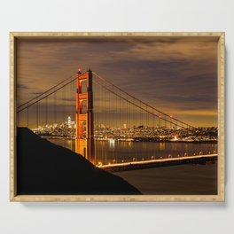 Golden Gate Bridge at Night Serving Tray