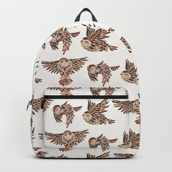 Owls in Flight – Brown Palette by catcoq