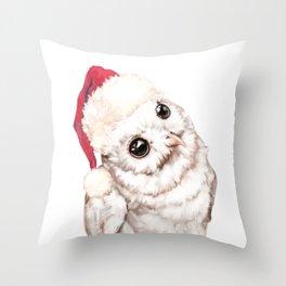 Christmas Snowy Owl Throw Pillow