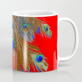 DECORATIVE  RED GREEN BLUE PEACOCK FEATHER JEWELS Coffee Mug