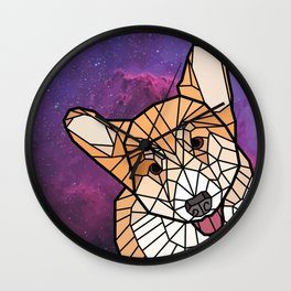 Space Dog - Mosaic Corgi Wall Clock