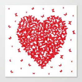Heart - summer card design, red butterfly on white background Canvas Print