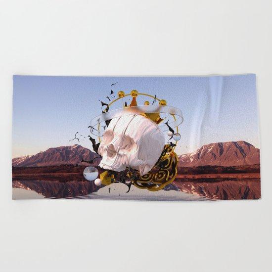 3D ABSTRACT - GOLD - GLASS - OIL - PORCELAIN Beach Towel