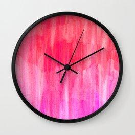 Hot Pink, Melon & Magenta Watercolor Abstract Wall Clock