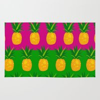 pineapples Area & Throw Rugs featuring Pineapples by The Wallpaper Files