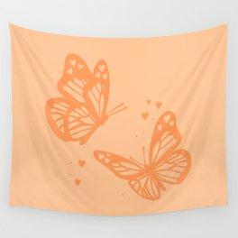 butterflies - orange Wall Tapestry