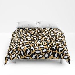 Gold Leopard Print | Cheetah texture pattern Comforters