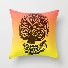 Sugar Skull - Ombre orange and Yellow Throw Pillow