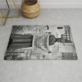 Courage calls to Courage Everywhere memorial black and white photography - black and white photographs Rug