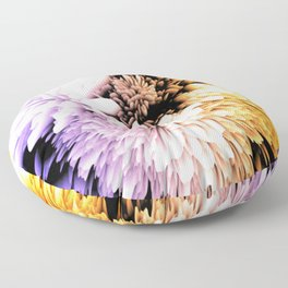 Mums abstract with shades of purple and gold Floor Pillow