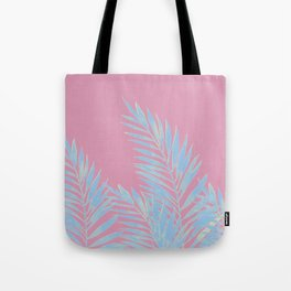 Palm Leaves Blue And Pink Tote Bag