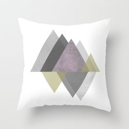 To the Mountains I Must Go, Abstract Geometric Art Throw Pillow