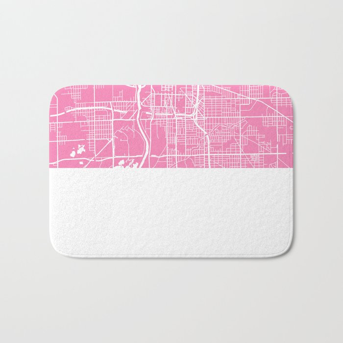 Indianapolis map pink Bath Mat
