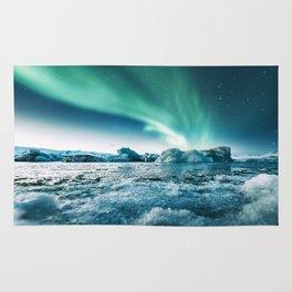 aurora borealis at jakursarlon Rug