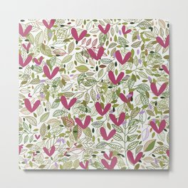 Modern abstract pink lavender neo mint foliage Metal Print