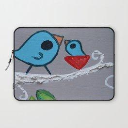 Mamma Bird - Blue on Grey Laptop Sleeve