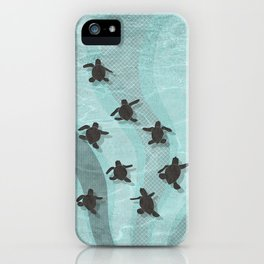 Loggerhead sea turtle hatchlings iPhone Case
