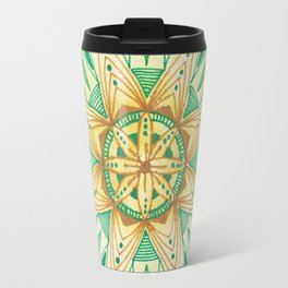 Simple Green/Yellow Mandala Travel Mug