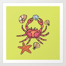 Summer crab Art Print