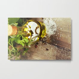 Olive oil,  herbs and spices on a wooden table Metal Print
