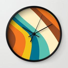 Retro Rainbow Swirl Wall Clock