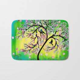 Green Tree of Life With Japanese Cherry Blossom Bath Mat