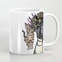 Cat and Bouquet Coffee Mug