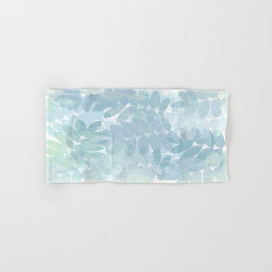 Vintage Blue Leaf Abstract Hand & Bath Towel