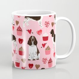 English Springer Spaniel love hearts valentines day gifts for dog person pet friendly pet portrait Coffee Mug