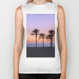 Serenity beach. Palms at the beach. Biker Tank
