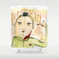 taxi driver Shower Curtains featuring Taxi Driver by Dobleu