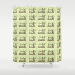 Sewing Vintage Machine Needle Retro Pattern Shower Curtain