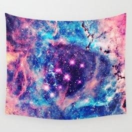 Trendy Pastel Pink Blue Nebula Girly Stars Galaxy Wall Tapestry