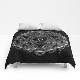 Black and White Throat Chakra Comforters
