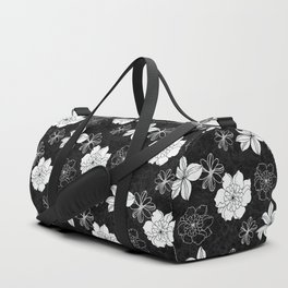 Black and white flowers Duffle Bag